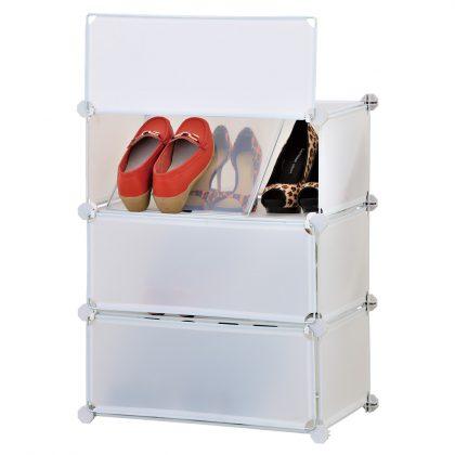 ארונית פלסטיק לאחסון נעליים 3 דלתות עם חוצצים הום דיספליי