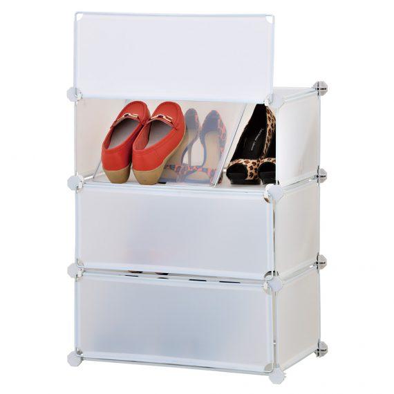 ארונית פלסטיק לאחסון נעליים 3 דלתות עם חוצצים